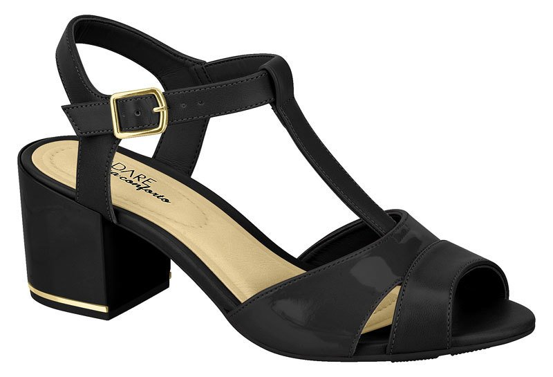 aa8593b5a4 Sandália salto bloco com detalhe na sola em dourado modare cor preta