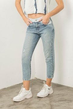 Pantalon Denim and white
