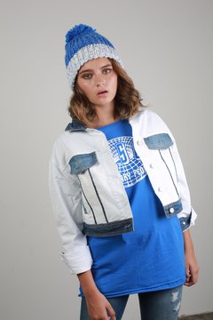 Campera Denim and white
