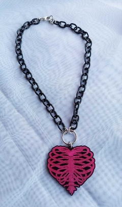 CHOKER COLLAR HEART PINK