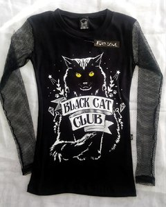 CAMISETA BLACK CAT CLUB MANGA RED