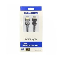 Cable Hdmi Kelyx Sup-0411 3 Mts Negro C. Oro 2.0 3d 4k