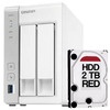 Nas Storage Qnap Ts231p 2 Bahias + Disco Rigido Hdd 2tb Red