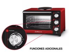 Horno Eléctrico Rojo Ultracomb 28lts 2500w Con Anafe Superior - Tendex