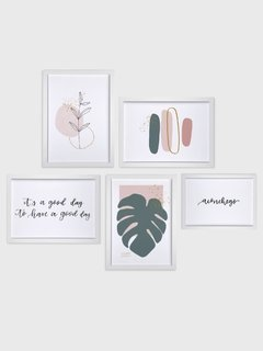 Imagem do Gallery Wall - Conjunto com 5 Quadros Decorativos - Aconchego + Monstera Spring + Good Day + Ramo Minimalista + Brush Spring 02
