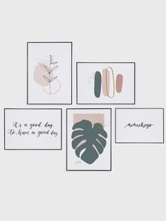 Gallery Wall - Conjunto com 5 Quadros Decorativos - Aconchego + Monstera Spring + Good Day + Ramo Minimalista + Brush Spring 02 - loja online