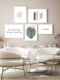 Gallery Wall - Conjunto com 5 Quadros Decorativos - Aconchego + Monstera Spring + Good Day + Ramo Minimalista + Brush Spring 02