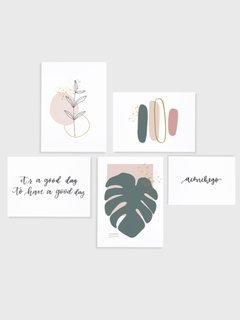 Gallery Wall - Conjunto com 5 Quadros Decorativos - Aconchego + Monstera Spring + Good Day + Ramo Minimalista + Brush Spring 02 - comprar online