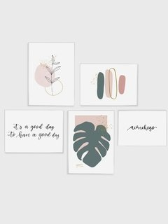 Gallery Wall - Conjunto com 5 Quadros Decorativos - Aconchego + Monstera Spring + Good Day + Ramo Minimalista + Brush Spring 02 - Rachel Moya | Art Studio