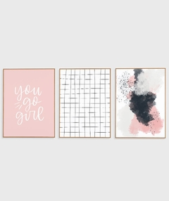 Imagem do Conjunto com 3 Quadros Decorativos - You Go Girl + Grid Branco + Abstrato Rosa