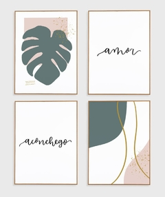 Imagem do Conjunto com 4 Quadros Decorativos - Monstera Spring + Amor + Nuances Spring 03 + Aconchego