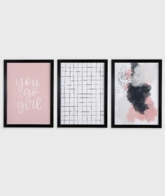 Conjunto com 3 Quadros Decorativos - You Go Girl + Grid Branco + Abstrato Rosa - comprar online