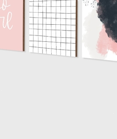 Conjunto com 3 Quadros Decorativos - You Go Girl + Grid Branco + Abstrato Rosa na internet
