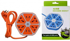Alargue Triple Zapatilla 5 Tomas + 2  Usb Hexagon Socket en internet