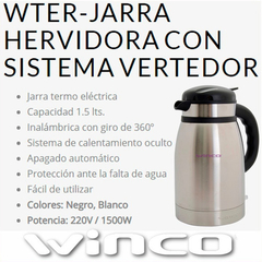 Jarra Pava Electrica Winco W-76 Termo Ideal Mate Acero 1,5 L en internet