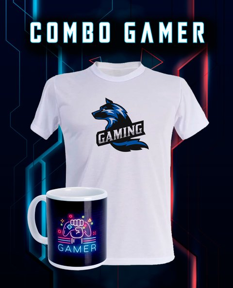 Combo Gamer Camiseta + Caneca Gráfica Digital Super Mídia On-line