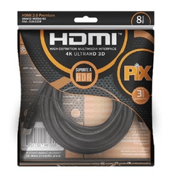 Cabo Hdmi 8m 2.0 8 Metros 4k Ultra Hd 3d 19 Pinos Ethernet