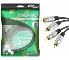 Cabo 2 Rca + 2 Rca 3 Metros Profissional Chip Sce