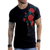 Camiseta Long Line  BLACK FLOWER
