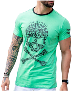 Camiseta Long Line Green Skull