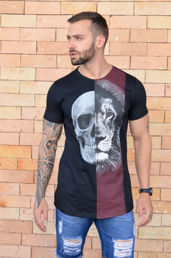 Camiseta Long Line Skull And Lion - KS Store