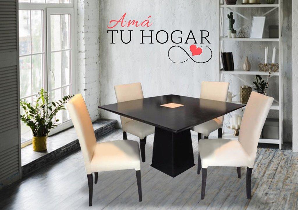 Juego de Comedor - Mesa cuadrada guatambu laqueada 120x120cm. + 4 sillas  vestidas en cuerina
