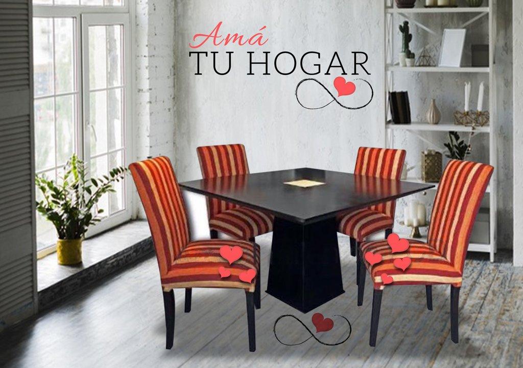 Juego de Comedor Mesa cuadrada de guatambu laqueada 120x120cm. + 4 sillas  vestidas con tela LOLA