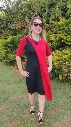 VE-0006 - Vestido bicolor vm/pr na internet