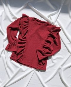Sweater 3/4 Volados Natural - Red Velvet