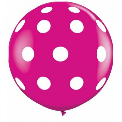 BALÃO GIGANTE 3 PÉS QUALATEX WILD BERRY BIG POLKA DOTS-A-RND C/1