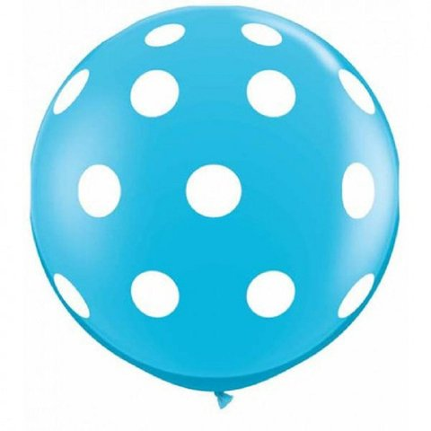 BALÃO 3FT BIG POLKA DOTS-A-RND BLUE C/1