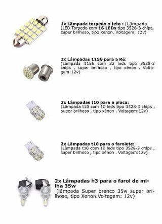 Kit Lampadas Led+ Super Led Para Milha Crossfox 22 Leds