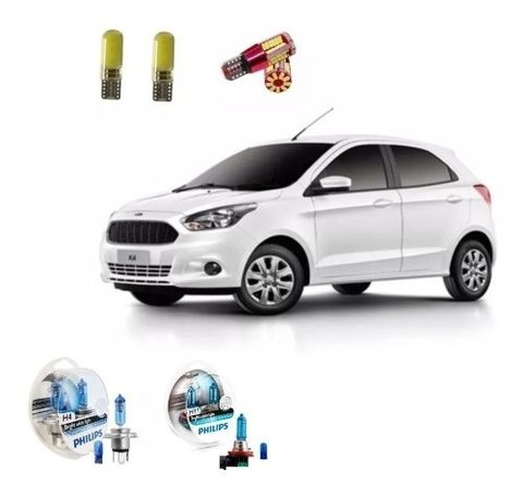 Kit Led + Philips Crystal Vision Farol + Milha Novo Ford Ka