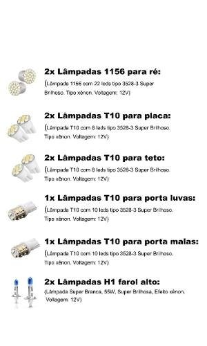 Kit Lampadas Led + Farol Super Branca Peugeot 208