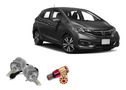 Kit Lampadas Super Led Farois + Farolete Honda Fit 2018