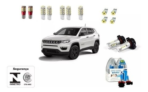 Kit Led + Led Drl +philips Crystal Vision Milha Jeep Compass