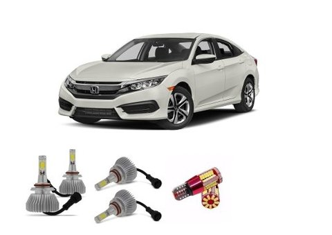 Kit Lampadas Farois E Farolete Super Led Civic 2017
