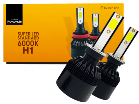 Kit Super Led Tech One (code) H1 Lampada 6000k 12v 24v