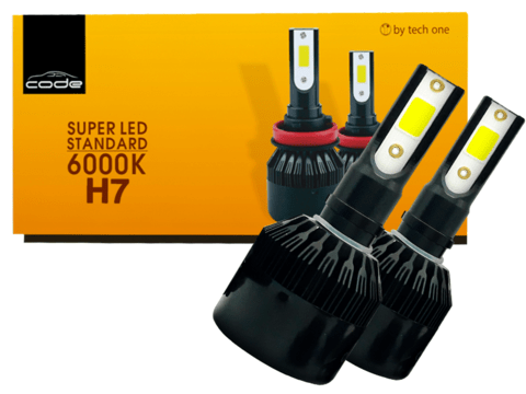 KIT SUPER LED TECH ONE (CODE) H7 LAMPADA 6000K 12V 24V