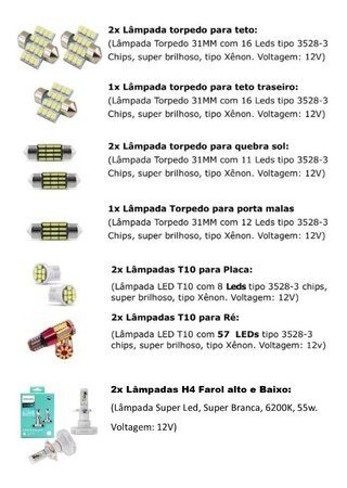 Kit Lampadas Led + Farol Philips Ultinon H4 Creta 2019