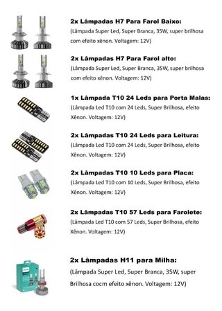Kit Lampadas Led Philips + Internas + Faroletes Fiat Argo