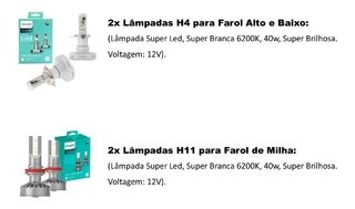 Kit Lampadas Led Philips Ultinon Farol E Milha Creta 2019
