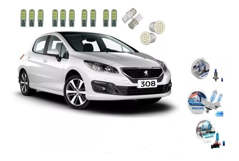 Kit Led+ Philips Crystal Vision Alto Baixo Milha Peugeot 308