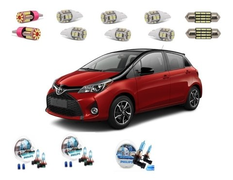 Kit Led + Philips Crystal Vision Baixo Alto E Milha Yaris