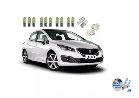 Kit Led + Philips Crystal Vision Baixo Peugeot 308