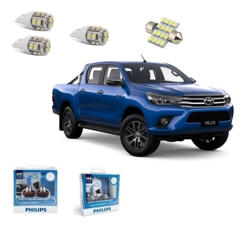Kit Led + Philipsdiamond Vision Milha E Farol Hilux 2017