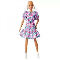 Barbie Fashionista 150 - Careca com vestido estampado