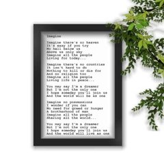 Quadro Decorativo The Beatles Letra Imagine Fundo Branco A4