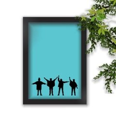 Quadro Decorativo The Beatles Pose Fundo Azul A4