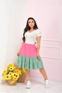 VESTIDO COLOR BLOCK MANGA PRINCESA FEMININE